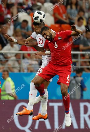 Tunisia's Ghaylen Chaaleli, left, and Panama's Gabriel Gomez compete for a header during the group G match between Panama and Tunisia at the 2018 soccer World Cup in the Mordovia Arena in Saransk, Russia