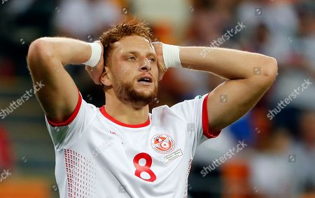 Fakhreddine Ben Youssef of Tunisia reacts after failing to score during the FIFA World Cup 2018 group G preliminary round soccer match between Panama and Tunisia in Saransk, Russia, 28 June 2018.