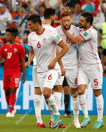 Fakhreddine Ben Youssef (2nd R) of Tunisia celebrates scoring the equalizer during the FIFA World Cup 2018 group G preliminary round soccer match between Panama and Tunisia in Saransk, Russia, 28 June 2018.