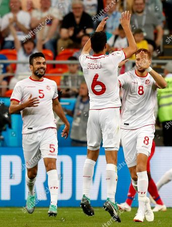 Fakhreddine Ben Youssef (R) of Tunisia celebrates scoring the equalizer during the FIFA World Cup 2018 group G preliminary round soccer match between Panama and Tunisia in Saransk, Russia, 28 June 2018.