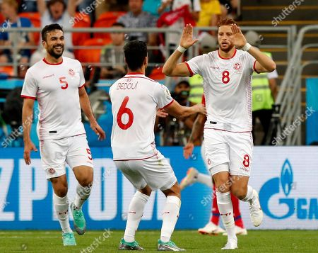 Stock Picture of Fakhreddine Ben Youssef (R) of Tunisia celebrates scoring the equalizer during the FIFA World Cup 2018 group G preliminary round soccer match between Panama and Tunisia in Saransk, Russia, 28 June 2018.
