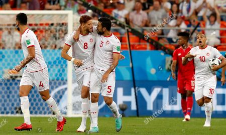 Fakhreddine Ben Youssef (2nd L) of Tunisia celebrates scoring the equalizer during the FIFA World Cup 2018 group G preliminary round soccer match between Panama and Tunisia in Saransk, Russia, 28 June 2018.