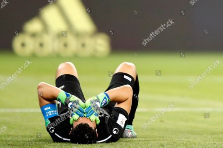 Goalkeeper Aymen Mathlouthi of Tunisia reacts during the FIFA World Cup 2018 group G preliminary round soccer match between Panama and Tunisia in Saransk, Russia, 28 June 2018. (RESTRICTIONS APPLY: Editorial Use Only, not used in association with any commercial entity - Images must not be used in any form of alert service or push service of any kind including via mobile alert services, downloads to mobile devices or MMS messaging - Images must appear as still images and must not emulate match action video footage - No alteration is made to, and no text or image is superimposed over, any published image which: (a) intentionally obscures or removes a sponsor identification image; or (b) adds or overlays the commercial identification of any third party which is not officially associated with the FIFA World Cup)