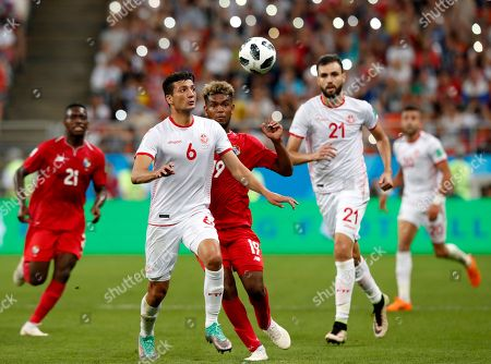 Rami Bedoui (L) of Tunisia and Alberto Quintero of Panama in action during the FIFA World Cup 2018 group G preliminary round soccer match between Panama and Tunisia in Saransk, Russia, 28 June 2018. (RESTRICTIONS APPLY: Editorial Use Only, not used in association with any commercial entity - Images must not be used in any form of alert service or push service of any kind including via mobile alert services, downloads to mobile devices or MMS messaging - Images must appear as still images and must not emulate match action video footage - No alteration is made to, and no text or image is superimposed over, any published image which: (a) intentionally obscures or removes a sponsor identification image; or (b) adds or overlays the commercial identification of any third party which is not officially associated with the FIFA World Cup)