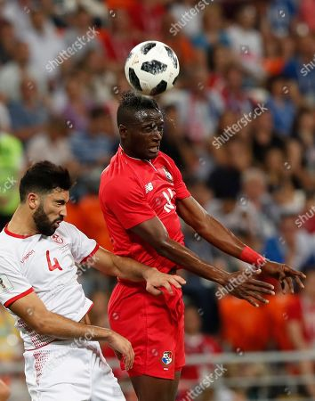 Yassine Meriah (L) of Tunisia and Abdiel Arroyo of Panama during the FIFA World Cup 2018 group G preliminary round soccer match between Panama and Tunisia in Saransk, Russia, 28 June 2018. (RESTRICTIONS APPLY: Editorial Use Only, not used in association with any commercial entity - Images must not be used in any form of alert service or push service of any kind including via mobile alert services, downloads to mobile devices or MMS messaging - Images must appear as still images and must not emulate match action video footage - No alteration is made to, and no text or image is superimposed over, any published image which: (a) intentionally obscures or removes a sponsor identification image; or (b) adds or overlays the commercial identification of any third party which is not officially associated with the FIFA World Cup)