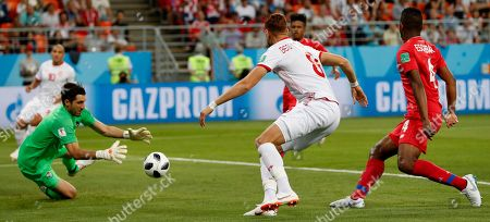 Stock Photo of Goalkeeper Jaime Penedo of Panama saves the ball during the FIFA World Cup 2018 group G preliminary round soccer match between Panama and Tunisia in Saransk, Russia, 28 June 2018. (RESTRICTIONS APPLY: Editorial Use Only, not used in association with any commercial entity - Images must not be used in any form of alert service or push service of any kind including via mobile alert services, downloads to mobile devices or MMS messaging - Images must appear as still images and must not emulate match action video footage - No alteration is made to, and no text or image is superimposed over, any published image which: (a) intentionally obscures or removes a sponsor identification image; or (b) adds or overlays the commercial identification of any third party which is not officially associated with the FIFA World Cup)