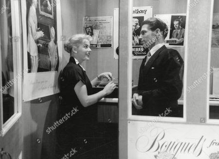 Jill Adams, as Shirley Harcourt, Lyndon Brook, as Leslie Parrish