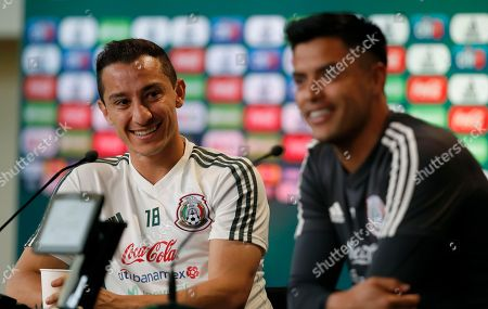 Mexico's Andres Guardado, left, and Mexico goalkeeper Alfredo Talavera attend a press conference before a training session of Mexico at the 2018 soccer World Cup in Moscow, Russia