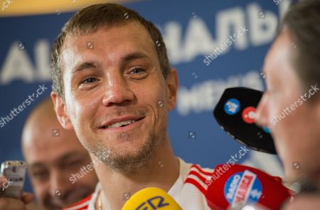 Russia player Yury Gazinsky reacts during a press conference held at the Federal Sports Centre, Novogorsk, Russian Federation, 29 June 2018. Russia will face Spain the Round  of 16 of the FIFA World Cup 2018 on 01 July.