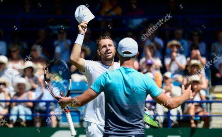 Luke Bambridge and Jonny O'Mara celebrate their victory in the men's double final against Ken and Neal Skupski