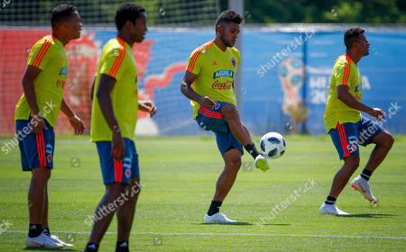 Colombia national soccer team players (L-R) Carlos Bacca, Oscar Murillo, Miguel Borja and Farid Diaz, during a training session at the Sviyaga stadium, Kazan, Russian Federation, 29 June 2018. Colombia will face England in their FIFA World Cup 2018 round of 16 soccer match in Moscow on 03 July 2018.