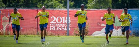 Stock Image of Colombia national soccer team players (L-R) Jose Izquierdo, Carlos Bacca, Cristian Zapata, Wilmar Barrios and Farid Diaz warm up during a training session at the Sviyaga stadium, Kazan, Russian Federation, 29 June 2018. Colombia will face England in their FIFA World Cup 2018 round of 16 soccer match in Moscow on 03 July 2018.