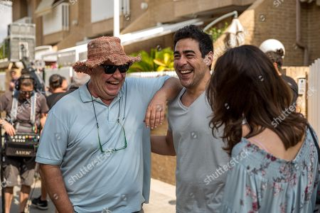 Stock Image of Spaish film director Jose Luis Berlanga (L) and actor Pablo Chiapella (C) are seen during the shooting of his new film 'Viva la Vida' in Valencia, Spain, 29 June 2018.