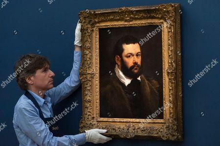 "Stock Image of A staff member presents ""Portrait of a Venetian Nobleman"" by Sir Peter Paul Reubens (Est. £3-4m)"