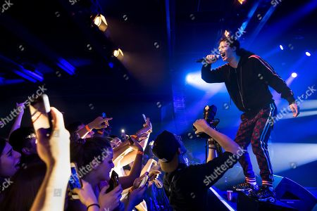 Stock Picture of French rapper Moha La Squale performs on the stage of the Montreux Jazz Lab during the 52nd Montreux Jazz Festival, in Montreux, Switzerland, 30 June 2018. The event running from 29 June to 14 July will feature 380 concerts.