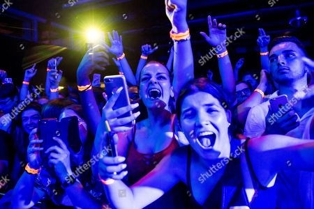 Festival-goers cheer for the concert of French rapper Moha La Squale as he performs on the stage of the Montreux Jazz Lab during the 52nd Montreux Jazz Festival, in Montreux, Switzerland, 30 June 2018. The event running from 29 June to 14 July will feature 380 concerts.