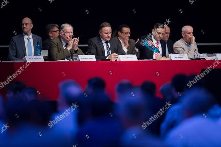 (L-R) The co-chair of the parliamentary group of the right-wing AfD party Alexander Gauland, Georg Pazderski, Chairman of Berlin section of the AfD party, the member of the parliamentary group of the AfD party Kay Gottschalk and Albrecht Glaser of the AfD party during the first day of the AfD convention in Augsburg, Germany, 30 June 2018. The Alternative for Germany (AfD) party meets in the bavarian city Augsburg for a two-day congress.