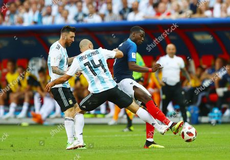 Paul Pogba of France and Javier Mascherano of Argentina