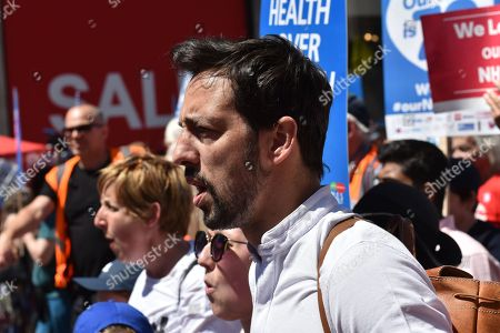 Ralf Little, Julie Hesmondhalgh. Thousands of people attend the 'NHS at 70: Free, for all, forever', march through central London.
