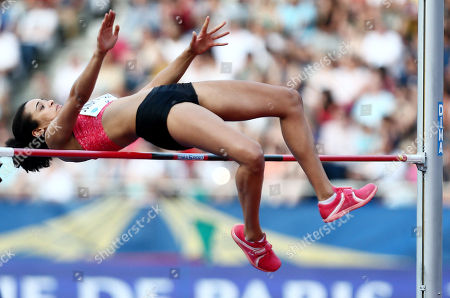Marie-Laurence Jungfleisch of Germany during the Womens High Jump.