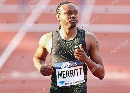 Aries Merritt of USA after his Mens 110m hurdles heat.