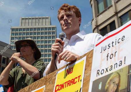 US Representative Joseph Patrick Kennedy III (R) addresses a crowd of thousands of protesters on City Hall Plaza as they prepare to march in protest of the immigration policies of US President Donald J. Trump in Boston, Massachusetts, USA, 30 June 2018.   Rallies in cities throughout the country have been organized to protest the Trump administration?s ?zero-tolerance? immigration policies and the detention of children and families.