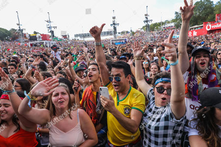 Fans of the Brazilian singer Ivete Sangalo cheer during her performance at the Rock in Rio Lisboa 2018 music festival at the Parque da Bela Vista in Lisbon, Portugal, 30 June 2018.