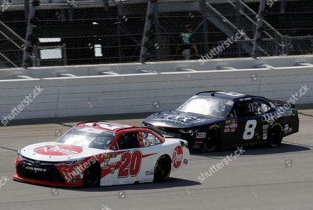 Christopher Bell, Blake Jones. Christopher Bell (20) leads Blake Jones (8) during a NASCAR Xfinity Series auto race at Chicagoland Speedway in Joliet, Ill