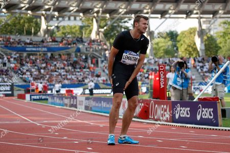 Christophe Lemaitre of France suffers an injury during the Men's 100 meters B race competition at the IAAF Diamond League athletics meeting at Charlety Stadium, in Paris, France