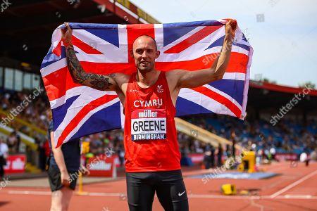 Dai Greene winner of the Men's 400 Metres Hurdles Final  during the Muller British Athletics Championships at Alexander Stadium, Birmingham. Picture by Toyin Oshodi