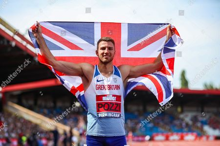 Andrew Pozzi, winner of the Men's 110 Metres Final during the Muller British Athletics Championships at Alexander Stadium, Birmingham. Picture by Toyin Oshodi