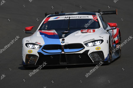 The #24 BMW Team RLL, BMW M8 GTW driven by Jesse Krohn, of Finland, John Edwards, of the United States prior to the IMSA WeatherTech SportsCar Championship Sahlen's Six Hours of The Glen on at Watkins Glen International in Watkins Glen, New York
