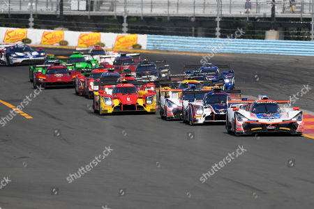 The #6 Acura Team Penske, Acura DPi driven by Dane Cameron, of the United States and Juan Pablo Montoya, of Columbia leads the field out of turn one during the IMSA WeatherTech SportsCar Championship Sahlen's Six Hours of The Glen on at Watkins Glen International in Watkins Glen, New York