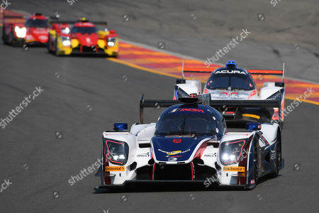 The #32 United Autosports, Ligier LMP2 driven by Phil Hanson, of Great Britain, Bruno Senna, of Brazil and Paul Di Resta, of Great Britain leads a group of cars during the IMSA WeatherTech SportsCar Championship Sahlen's Six Hours of The Glen on at Watkins Glen International in Watkins Glen, New York