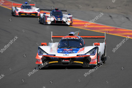 The #6 Acura Team Penske, Acura DPi driven by Dane Cameron, of the United States and Juan Pablo Montoya, of Columbia leads the field at the start of the IMSA WeatherTech SportsCar Championship Sahlen's Six Hours of The Glen on at Watkins Glen International in Watkins Glen, New York