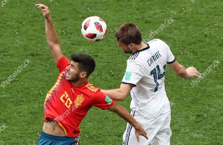 Stock Picture of Marco Asensio of Spain and Vladimir Granat of Russia