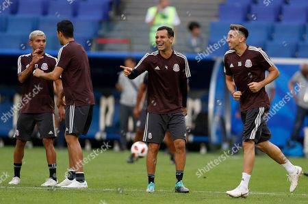 Mexico's Rafael Marquez smiles during Mexico's official training on the eve of the round of 16 match between Brazil and Mexico at the 2018 soccer World Cup in the Samara Arena, in Samara, Russia