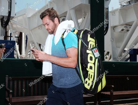 Austin Krajicek (USA) during Sunday Practice, Wimbledon Championships 2018, Sunday Practice, All England Lawn Tennis & Croquet Club, Church Rd, London, United Kingdom - 1st July 2018