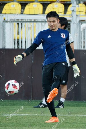 Stock Image of Japan's goalkeeper Kosuke Nakamura during a training session in Rostov-on-Don, Russia 01 July 2018. Japan will play Belgium in their FIFA World Cup 2018 Round of 16 match 02 July 2018.