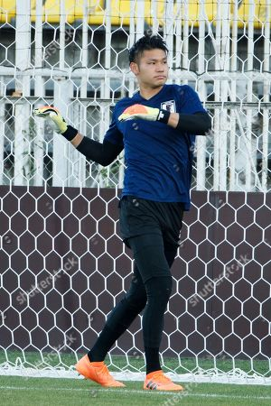 Stock Picture of Japan's goalkeeper Kosuke Nakamura during a training session in Rostov-on-Don, Russia 01 July 2018. Japan will play Belgium in their FIFA World Cup 2018 Round of 16 match 02 July 2018.
