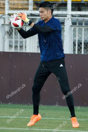 Stock Photo of Japan's goalkeeper Kosuke Nakamura during a training session in Rostov-on-Don, Russia 01 July 2018. Japan will play Belgium in their FIFA World Cup 2018 Round of 16 match 02 July 2018.
