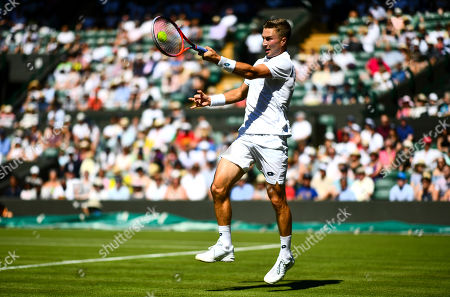 Liam Broady in action during his first round match