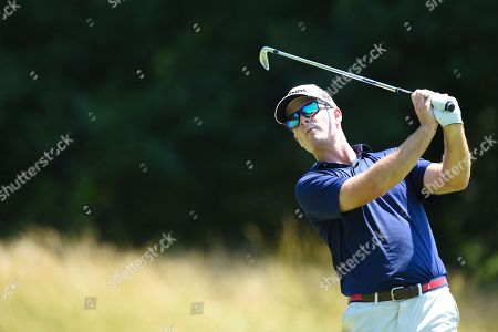 Kevin Streelman (USA) tees off at the par three third hole during the final round at the Quicken Loans National at the Tournament Players Club in Potomac MD