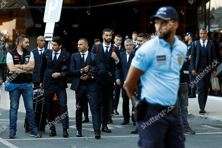 Portugal's players Joao Mario (2-L), Goncalo Guedes (3-L), Ricardo Quaresma (4-L), goalkeeper Rui Patricio (C), the head coach Fernando Santos (C-R) and Bruno Alves (R), arrival at Humberto Delgado airport in Lisbon, Portugal, 01 July 2018. After defeat against Uruguay, the Portugal national soccer team was eliminated from the FIFA World Cup 2018 round of 16.
