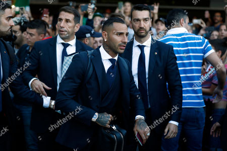 Portugal's Ricardo Quaresma (C) at his arrival at Humberto Delgado airport in Lisbon, Portugal, 01 July 2018. After defeat against Uruguay, the Portugal national soccer team was eliminated from the FIFA World Cup 2018 round of 16.