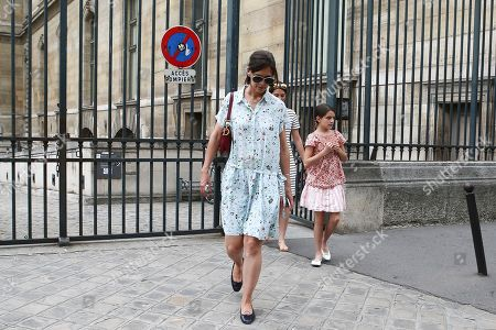 Katie Holmes and daughter Suri Cruise are seen leaving the Louvre Museum