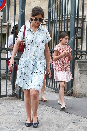 Stock Photo of Katie Holmes and daughter Suri Cruise are seen leaving the Louvre Museum