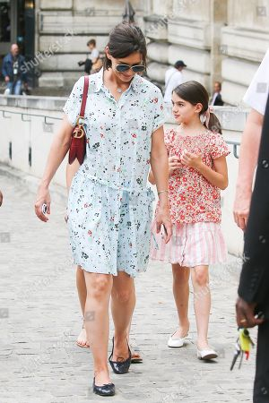 Stock Image of Katie Holmes and daughter Suri Cruise are seen leaving the Louvre Museum