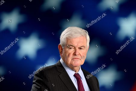 Former Speaker of the United States House of Representatives Newt Gingrich speaks during the annual gathering of Free Iran-Alternative 100 ASHRAF at the Villepinte exhibition North of Paris, France