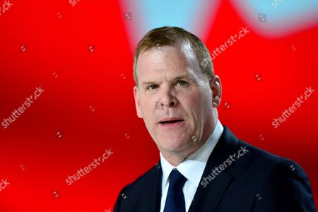 Member of the Canadian House of Commons John Baird speaks during the annual gathering of Free Iran-Alternative 100 ASHRAF at the Villepinte exhibition North of Paris, France